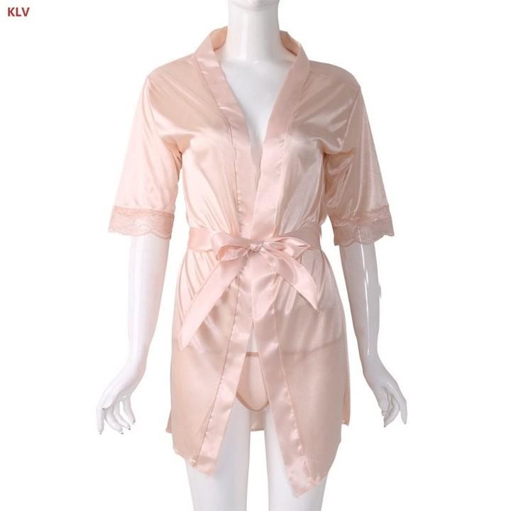Womens Short Kimono Style V-Neck Bathrobe Plain Dressing Gown Bridal Party  Robe d49912f96df0