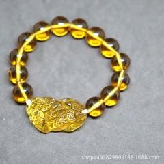 Beads Crystal Bracelet for Men Women Lucky yellow Bracelet Citrine Animal Bracelet Original Brand