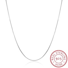 Real Pure 925 Sterling Silver Chain Necklace Women Girls Ladies Box Snake Rope Cross Chain Neckla