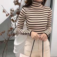 Fashion Ladies Autumn Full Sleeve Women Knitting Sweater Striped Casual Turtleneck Pullover Slim
