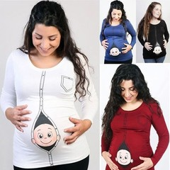 Cute Pregnant Maternity Clothes Casual Pregnancy T Shirts with Baby Peeking Out Funny Pregnant Wo