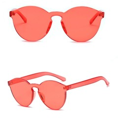 Round Rimless Sunglasses Transparent 3D Candy Color Women Men Sunglasses,Light Color Therapy Glas