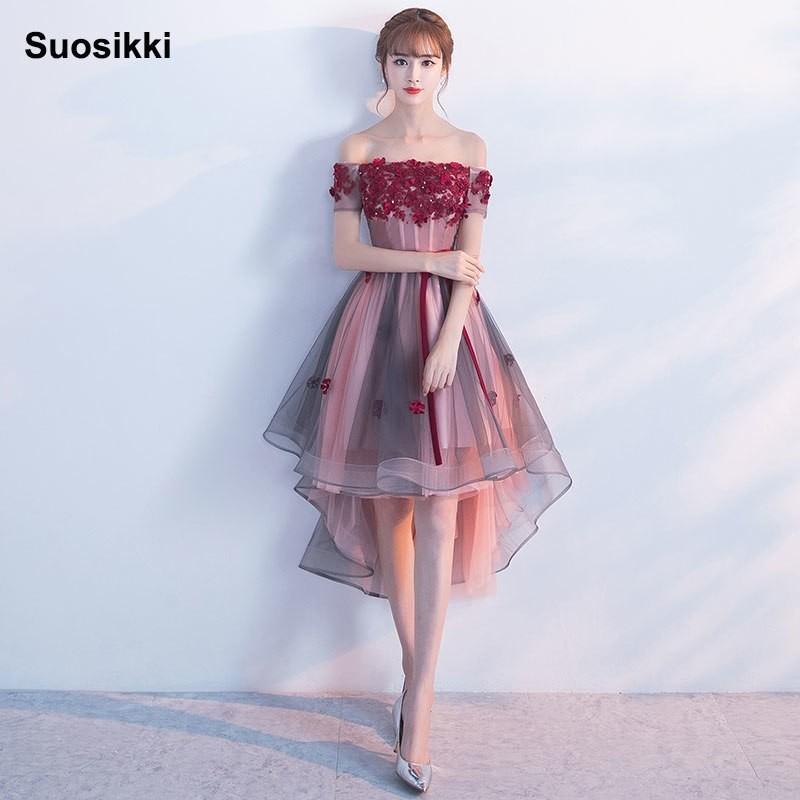c356c4af55d Suosikki New High Low Black Prom Dresses 2018 Elegant Lace Formal ...