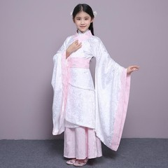 Ancient Baby Girls Clothes Traditional Floral Hanfu Clothing Suit Zither Dance Performance Dress