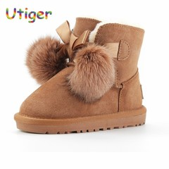 Girls Snow boots Genuine Leather Winter Kids Ankle boy Boots non-slip kids plush Shoes Boot for g