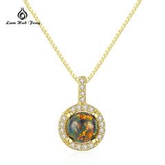 925 Sterling Silver Pendant Necklace Lucky Green Blue Fire OPAL Clear CZ Pendant Necklace Women L