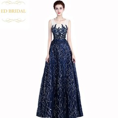Navy Blue Lace Appliques Evening Dress Sleeveless Floor-length Sequined Banquet  Party Formal Gown 3c2d02e735dd