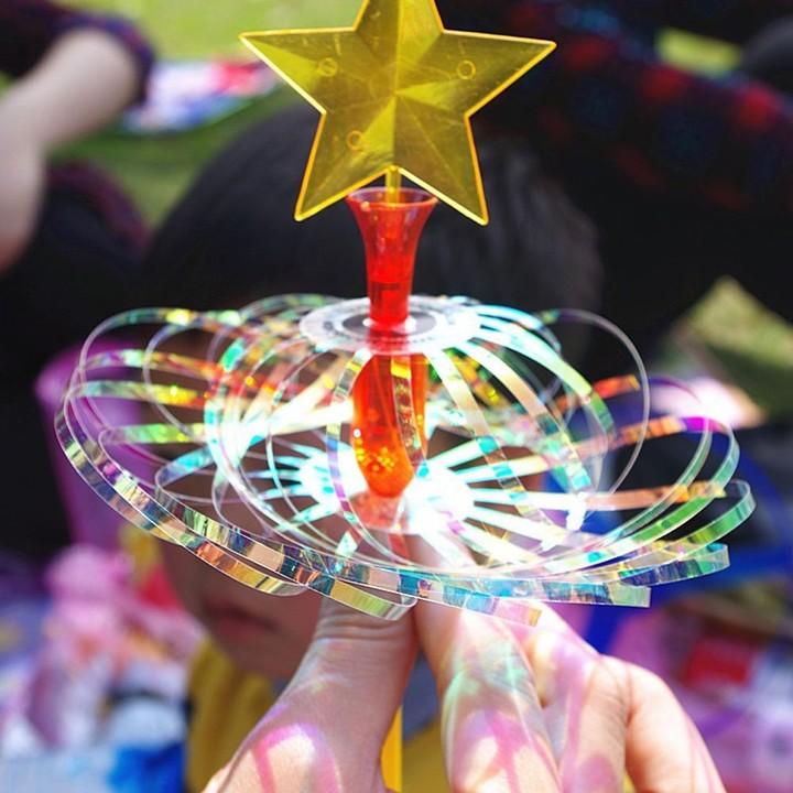 Pcs LED Rainbow Magic Stick Wand Spinning Ribbon Bubble Flower Kids Toys Tricks Shining Decorate