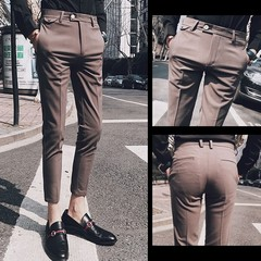 winter wool and silk mens suit pants single pleated thick dress pants men classical men dress pan