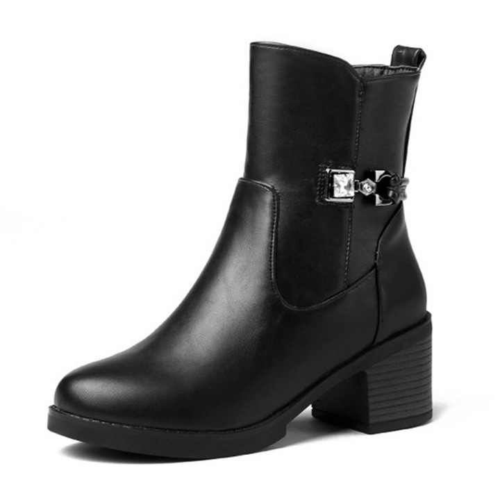 LISA Autumn Winter New Fashion Platform Ankle Boots Women Crystal Boots Female High Wide Heels Sh