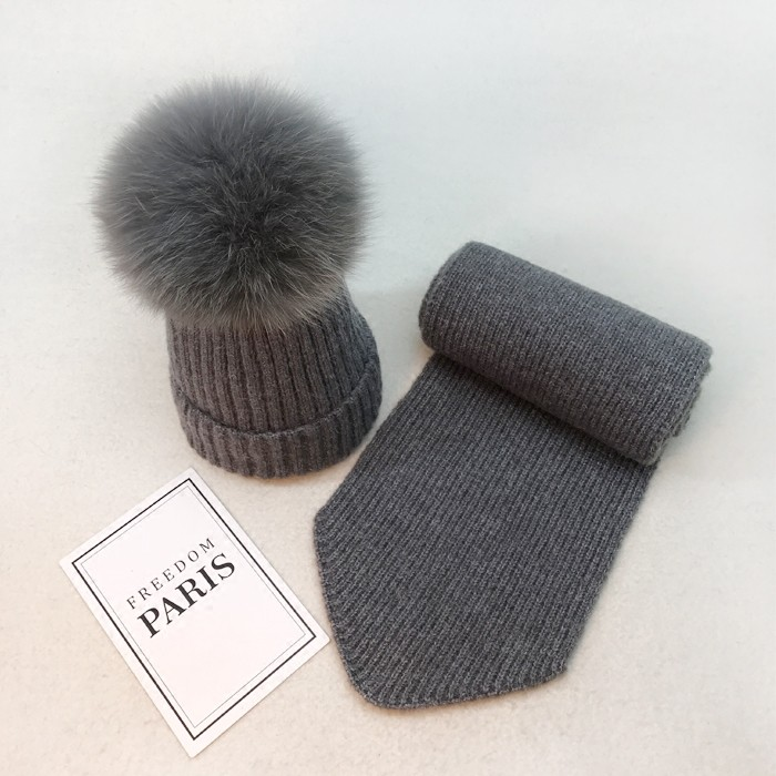 End Cashmere Baby Hat Scarf Set Raccoon Fur Kids Boys Girls Winter ... e531ab3e937