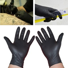 M S Disposable Black Permanent Tattoo Gloves Tattoo Latex Gloves 10/50Pcs
