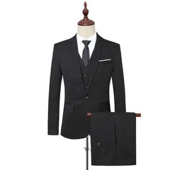 New Pure Color Single-breasted Mens Suit Jackets with Suit Vests and Suit Trousers 7 Colors Can C