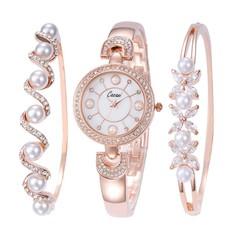 women waterproof quartz Rhinestone watches simple rose gold ladies bracelet watch 3-piece set Muj