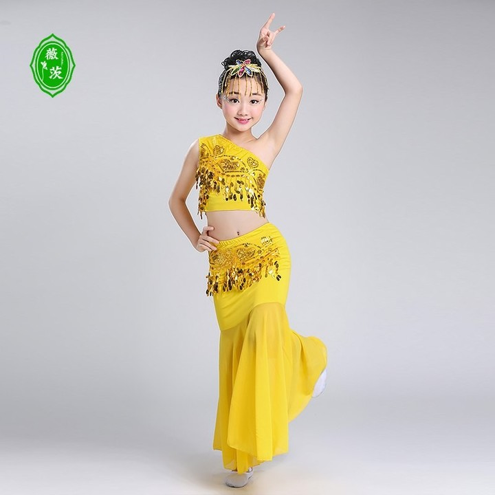 Dai Dance Costume Girls Peacock Dance Costumes Childrens Belly Dance