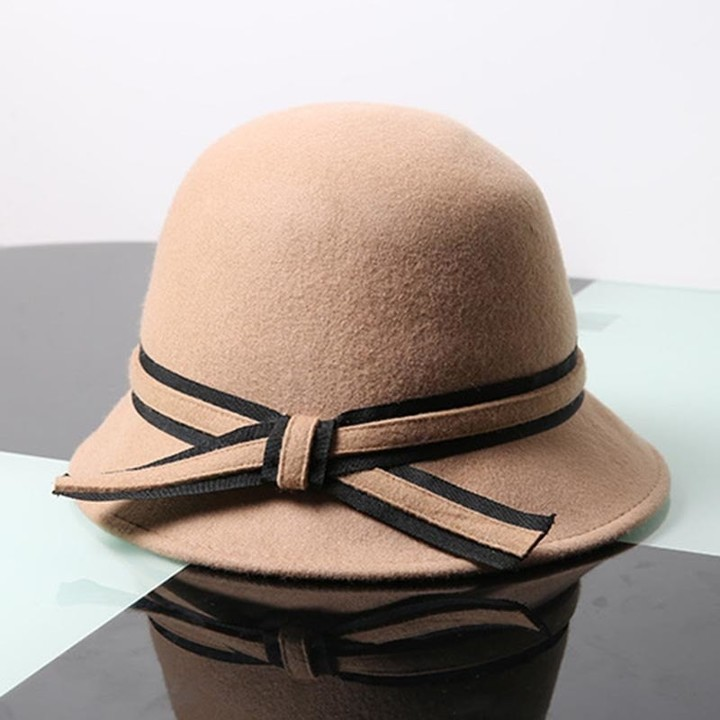 5187db7f46508 Autumn Winter Hats 100%Wool Fedora Hat For Women Elegant Female Ribbon Bow  Felt Hat
