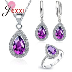 Elegant Classic 925 Silver Original Wedding Jewelry Set Water Drop Pendant Necklace Earrings Ring blue one size