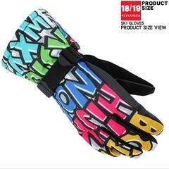 Fish Gloves Ski Waterproof Graffiti Fashion Warm Anti-Slip Gloves Snow Play Motorboat Ski Boat So