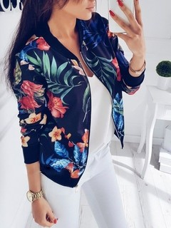 Coat Fashion Ladies Retro Floral Zipper Up Bomber Jacket Casual Coat Autumn Outwear Women Clothes