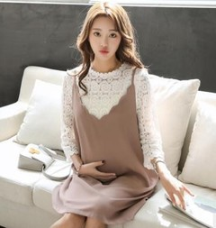 Maternity Sets 2018 Spring Autumn Pregnancy Clothes Lace Top+loose Strap Dress 2Pcs Clothes for P