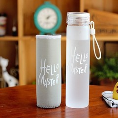 Colorful Letter Glass Water Bottle With Cloth Cover Frosted Gradient Color  Portable Drinking Bot