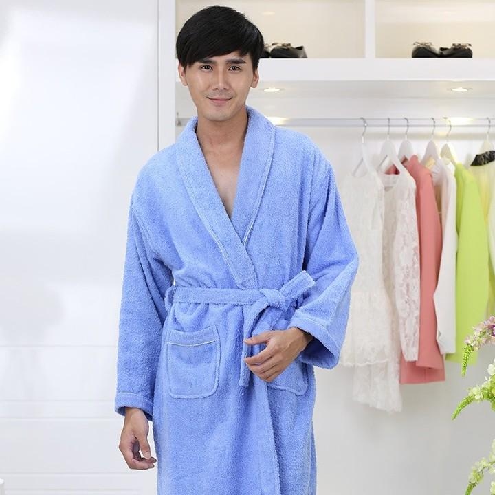 d3c5f9bbc6 Women 100% Cotton Terry Bathrobe lovers Thick Terry Robe Towel Sleepwear  Long Bath Robe Kimono