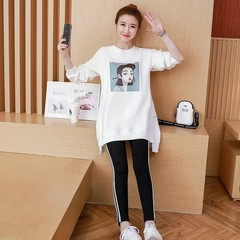 printing autumn and winter pregnant women suit loose long coat top stomach lift maternity two-pie