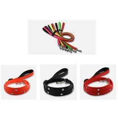 LED Dog Leash Luminous Lead Belt Pet Rechargeable Light Reflective Collar Leash for Big Large Dog
