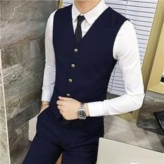 Color Choice Mens Suit Vests Business Party Waistcoat Men Slim Elegant Pure Color Male Vest S M L