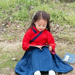 Girls Hanfu Clothing Suit Vintage Cotton Linen Dress Ancient Chinese Style Performance Clothes Ch