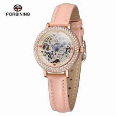FORSINING Automatic Watch Women Fashion Mechanical Self Wind Diamond Watch Elegant Leather Bracel