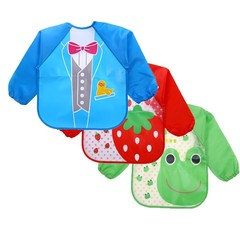 Cute Cartoon animals Baby Bibs Long Sleeve Apron Smock Soft Feeding Waterproof Colorful children
