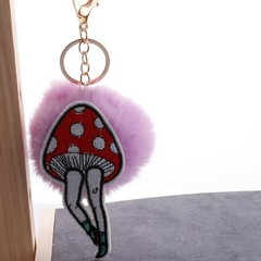 Pompom Mushroom Toy long-legged beauty Rabbit Fur Plush Keychain Doll Decoration Toy for Bag Car
