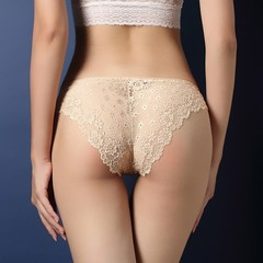 Women Underwear Lace Transparent Low Waist Hollow T Back Panties Lady Briefs