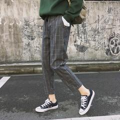 Fashion Women Pants Pockets Plaid Womens Loose Casual Female High Waist Pant Females Korean Style gray691 L