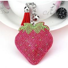 Rhinestone PU Leather Tassels Strawberry Women Keychain Bags Pendant Alloy Car Key Chain Ring Hol