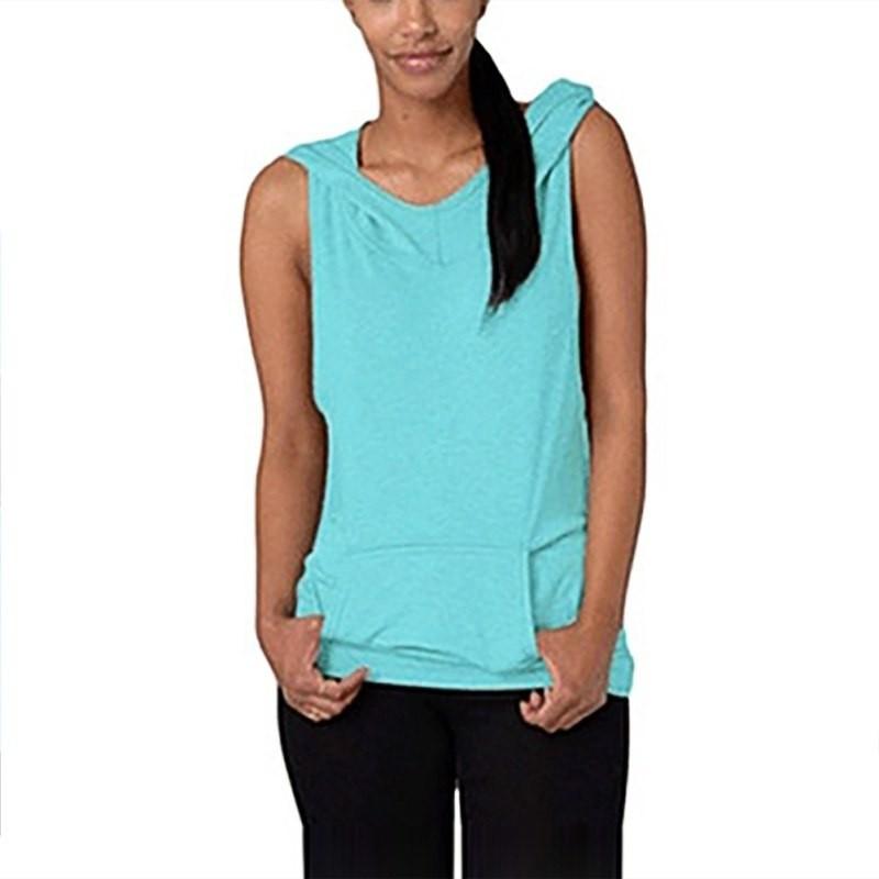 c5fac1abdb Sleeveless Hooded Sweatshirt Yoga V Collar Tops Sportswear Quick Dry ...