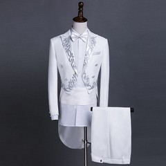 Men Gold Embroidery Floral Pattern Blazer Jacket Lapel Tail Coat Stage Singer Groom Black White W