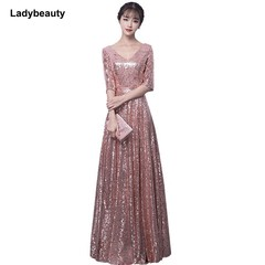 2018 New arrival Sequined Evening Dress V-Neck Half sleeves Simple Evening Gowns Long Party Forma
