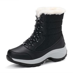 2018 Women Winter Snow Boots Waterproof Warm Fur Plush Lining Rubber Round Toe Flats Mid-Calf Rai