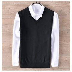 Cotton High quality Male knitting vest Mens V-neck sleeveless sweaters casual mens solid color ve