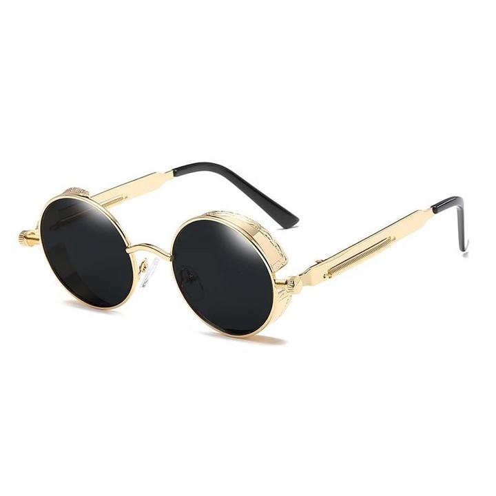 e666e9134c6 Round Steampunk Goggles Retro Male Sunglasses Men HD UV400 Vintage Women  Gothic Sun Glasses Gold