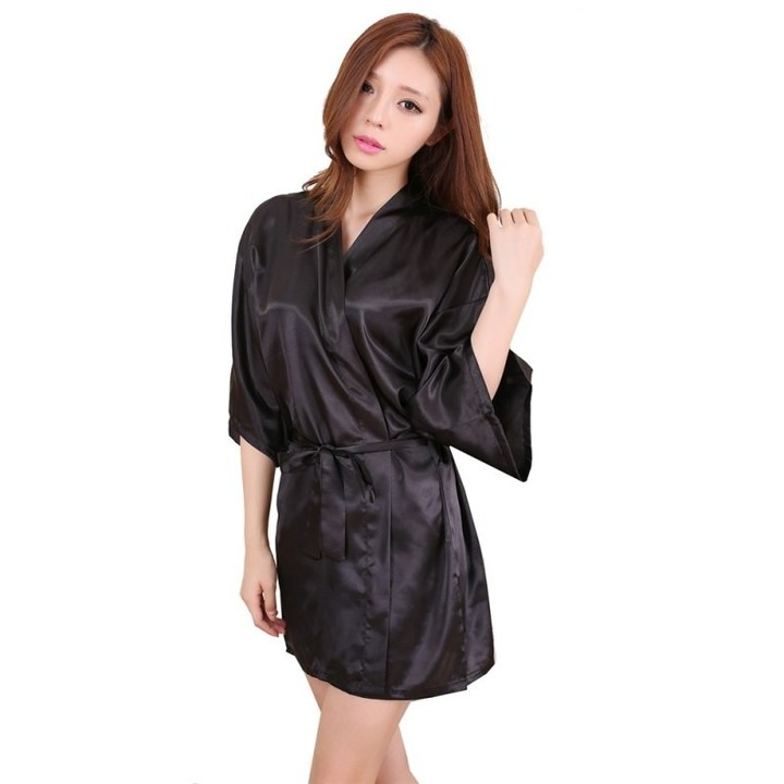 996709d023 Women Silk Satin Short Night Robe Solid Kimono sleepwear Robe Fashion Bath  Robe Sexy Bathrobe Wom