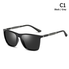 Men Cool Square Style Polarized Driving Sunglasses Aluminum Magnesium Leg Brand Design Sun Glasse