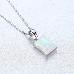 Real Gold Plated Oblong Simple White/Blue/Colorful Fire Opal Jewelry 925 Sterling Silver  Pendant