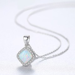 Genuine 925 Sterling Silver Green/White/Blue Fire Opal Necklace Geometric Square Pendant Necklace