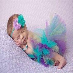 Baby Photography Accessories Girl Tulle Tutu Skirt Photo Props Headwear Culottes Crochet Outfits