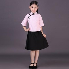 1930s Kids Campus Wear Baby Girls Mandarin Collar Tang Suit Clothing Zither Dance Performance Clo