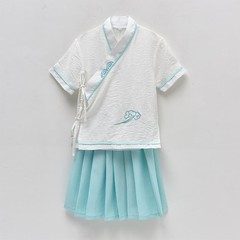 Girls Chinese National School Suit Cotton Linen Zither Dance Performance Clothes Ancient Costume