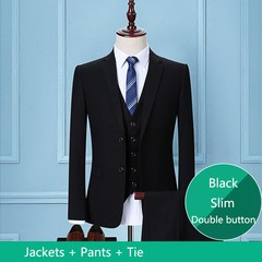 Black Business Men Suits Custom Made, Bespoke Classic Black Wedding Suits For Men, Tailor Made Gr